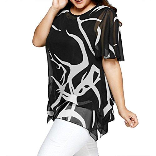 KaloryWee Women's O Neck Flared Sleeve Blouse Irregular Hem Color Block Plus Size Tops