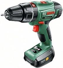 Bosch DIY Akku-Schlagbohrschrauber PSB 14,4 LI-2, Akku, Ladegerät, Doppelschrauberbit, Koffer (14,4 V, 1,5 Ah, max. Bohr-Ø: Holz: 30 mm, Stahl: 13 mm, Mauerwerk: 14 mm)