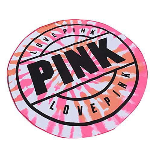 GSJJ Runden Strandtücher Badetuch Mikrofaser, Saugfähig weich Schnelltrocknend Sandfrei Decke zum Zuhause draussen Reise Fitnessstudio Sport Schwimmen zum Kinder Erwachsene,Pink