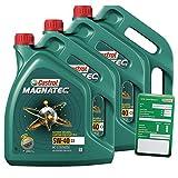 3x 5 L = 15 Liter Castrol Magnatec 5W-40 C3 Motor-Öl inkl. Ölwechsel-Anhänger