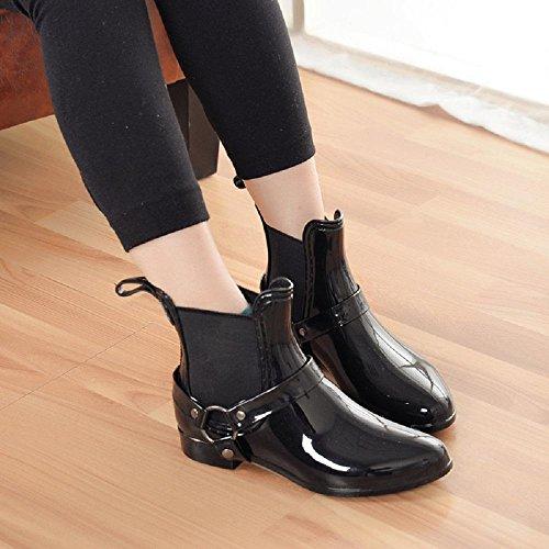 L'automne et l'hiver mode des femmes bottes de pluie Black