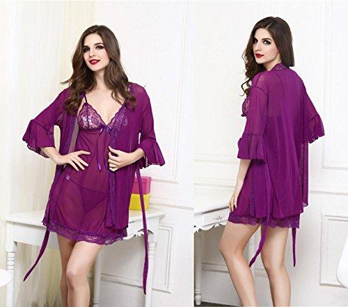 LJ&L Europa Gaze Pyjamas sexy Wäschespitzerockklage Versuchung der großen Yards,purple,one size Purple