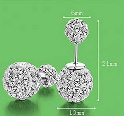 Numeis 1 Paar Damen Kristall Disco Shamballa Kugel 925 Sterling Silber Ohrringe Ohrstecker