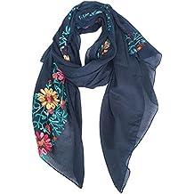 DAMILY Coton Châle Foulard Etole Echarpe avec Fleurs Brodées pour Femmes  Multicolores 772f6d8b699