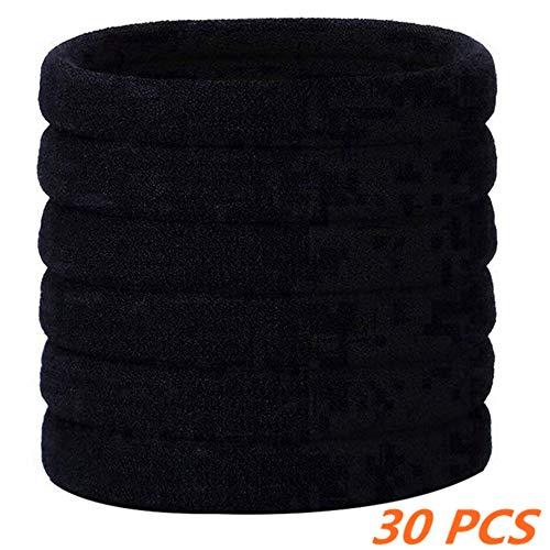 30 Pezzi Grande Nero Elasticizzato Elastico Elastici per Capelli di Cotone Bande Corda di Ponytail Fermacoda per Capelli Spessi Pesanti e Ricci