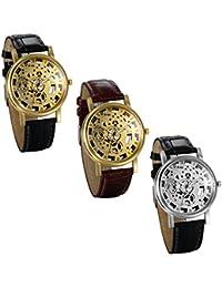 JewelryWe 3pcs Relojes de Hombre Caballero Retro Vintage Reloj Correa de Cuero Hueco de Estilo Mecanico