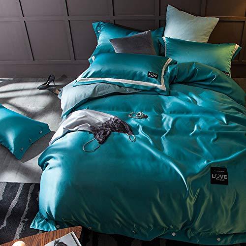 CPDZ 4-teilig Bedruckte Königin, Bettbezug-Set mit 2 Kopfkissenbezug-Bettwäsche Bettbezug 4-teiliges Set Rosa (weiß), Druck, Stickerei - König,Green,XL (Bettwäsche-daunendecke-abdeckung)