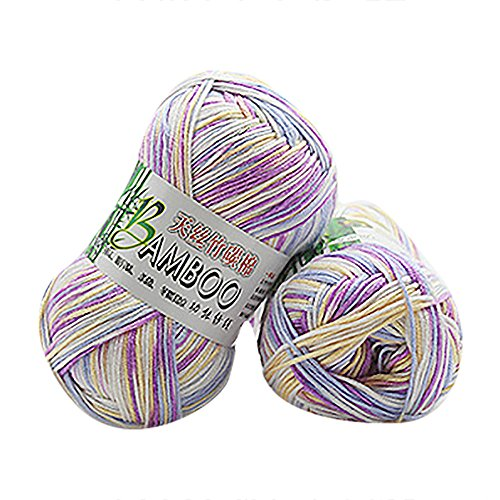 Cooljun Essential Wool Balls - Fil de Coton Multicolore en Bambou - Assorted Colors - Ideal for Any Knitting and Crochet Project 50g (G)