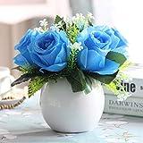 Jnseaol Kunstblumen Sehr Realistisch Keramiktopf Künstliche Blumen Hochzeit Party Küche Familie Garten Windowill Dekoration DIY Topfpflanze Blau -29