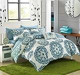 Chic Home 8teilig Barcelona Medaillon wendbar Gedruckt geometrische Unterstützung Bett in Einem Beutel Tröster Set mit Bogen, Full/Queen, grün
