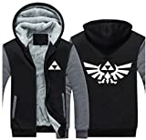 Herren Kapuzen Pullover Plus Thinck Zip Jacke Mantel Samt Sweatshirt Top Link Cosplay Kostüm Kleidung für Erwachsene Winter Fancy Dress (Medium, Grau)