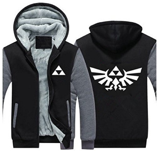 Herren Kapuzen Pullover Plus Thinck Zip Jacke Mantel Samt Sweatshirt Top Link Cosplay Kostüm Kleidung für Erwachsene Winter Fancy Dress (Large, ()