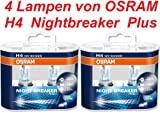 Osram Nightbreaker Plus H4 - 2. Generation 64193NBP-HCB 2 Duo Packs (4 Lampen)