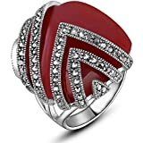 Square Ring For Women With Red Stone Size 17