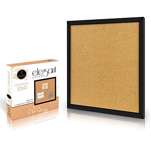 Elegante Pinnwand aus Kork, 30,5 x 30,5 cm, quadratisch, Wandfliesen, modern, schwarze Rahmen für Zuhause und Büro (Hardware und Vorlage im Lieferumfang enthalten)