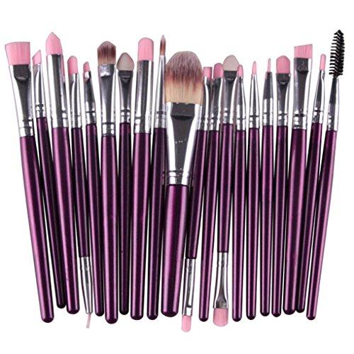 Maquillaje cepillo,Sonnena  20 piezas pincel de maquillaje herramientas set-up aseo kit de lana maquillaje cepillo conjunto Moda femenina Belleza & moda (20 PCs, PURPURA)
