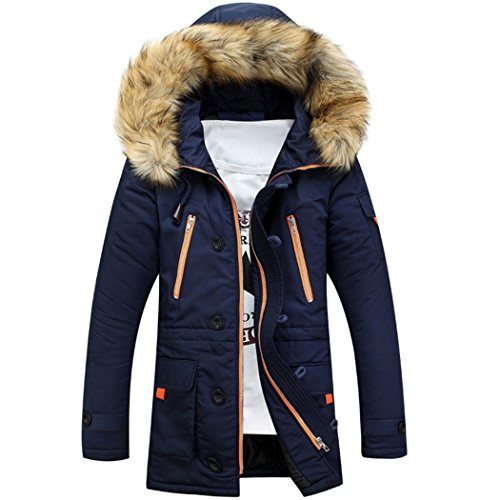 Mr Angelo - allungato Inverno Pelliccia Con Cappuccio Parka Cappotti, giacche Blue (Angelo Leather Jacket)