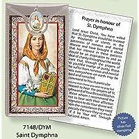 ST Saint dinfna Argento Foil Etched Verse preghiere e medaglia ciondolo - Foil Ciondoli