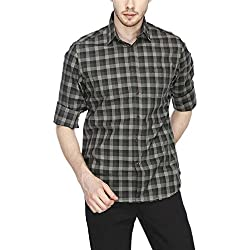 Indian Terrain Mens Slim Fit Casual Shirt (ITMSH00307-8907633896852_Black_X-Large)