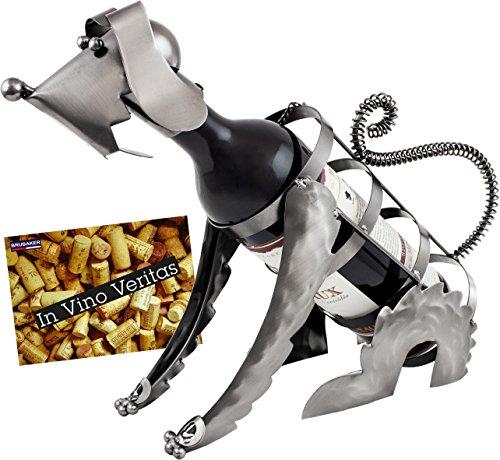 BRUBAKER Weinflaschenhalter Hund Flaschenständer Deko-Objekt Metall mit Grußkarte für Weingeschenk (Flasche Hund Wein)