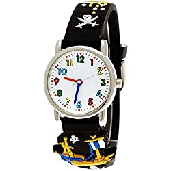 Pure time pirate wristwatch children watch children young girl silicone bracelet watch in black incl. watch box