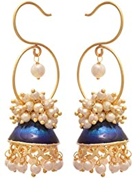 JFL - Traditional Ethnic & Fusion One Gram Gold Plated Pearl Meenakari Designer Earring For Women & Girls