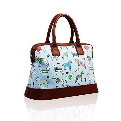 VENDITA Dogs & Pups, design di Cath Kidston, borsetta estiva con chiusura a cerniera, rivestimento in tela impermeabile. Blue