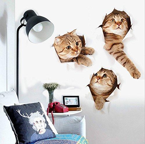 Sichere Firewall (3D Abnehmbare groß Katze Aufkleber Cartoon Funny Cat Pet Animal Tapete Dekoration einfach zu Stick Sicher Art Cute Kitten Home Aufkleber für Schlafzimmer, Kinderzimmer, WC, Küche etc. (39,9x 72,9cm))
