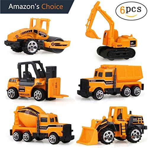 Spielzeug Auto Spielzeug Baustellenfahrzeug 6 Set(Orange und Schwarz)