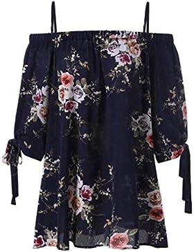 Tops para Mujer,RETUROM Moda para Mujer Plus Size Estampado Floral Blusa de Hombro Frío Tops Casuales Camis