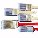 ROTIX 97002 Lasur-Pinsel 5-teiliges Set | 3 Flachpinsel Größe 50 mm | Heizkörperpinsel 50 mm | Ringpinsel Größe 10 | Beizpinsel