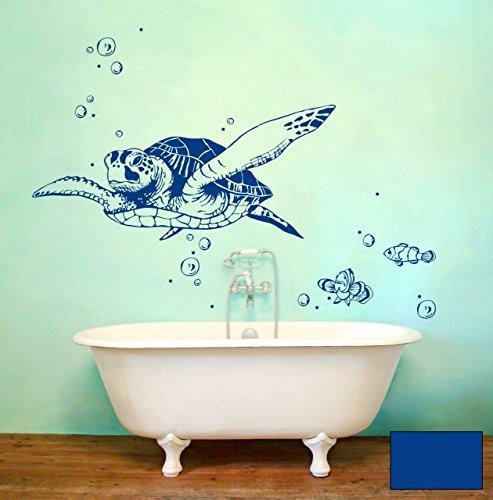 Wandtattoo Wandaufkleber Meeresschildkröte Schildkröte Lotti mit Fischen und Bubbles M1533 - ausgewählte Farbe: *Blau* - ausgewählte Größe: XL 100cm breit x 44cm hoch