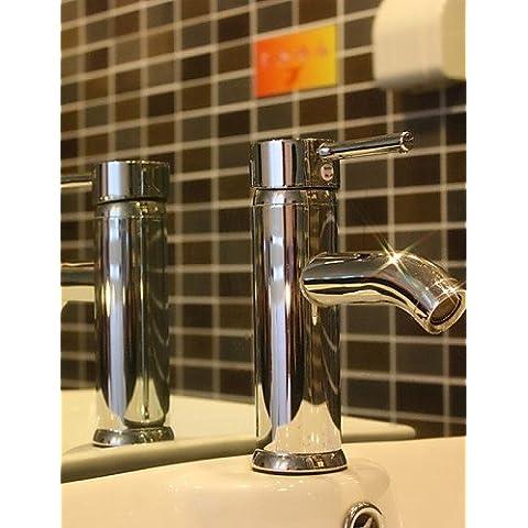 LONG-shengbaier chrome contemporaneo finitura ottone un foro un manico lavello rubinetto (breve)
