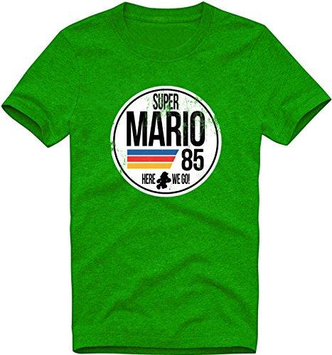EZYshirt Super Mario Herren T-Shirt Rundhals Premium Organic Cotton| Bio Baumwolle - Kostüm Super Bros Mario Toad