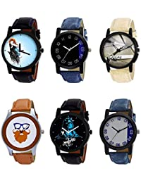 NIKOLA Contemporary 3D Design Mahadev Smokey Beard Style Black Blue And Brown Color 6 Watch Combo (B22-B37-B20...