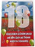 Glückwunschkarte Zum Geburtstag - 18 - Herzlichen Glückwunsch und alles Gute auf Deinem weiteren Lebensweg - Mehrfarbig - mit Briefumschlag
