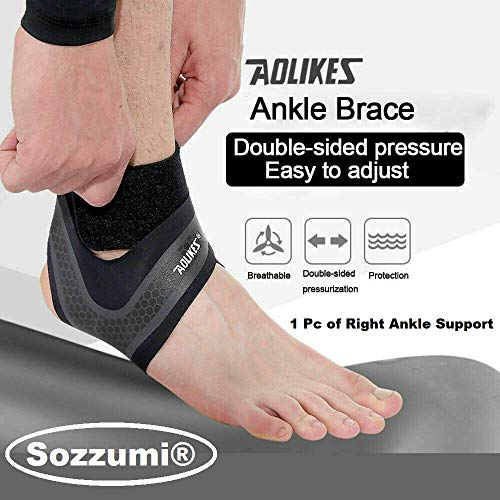 Sozzumi® AOLIKES Sport Ankle Support Sleeve & Bandage Wrap For Foot Compression Brace Guard (1 pc Right Foot, L)