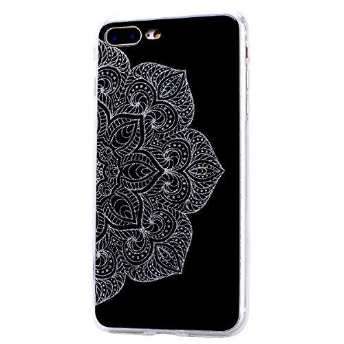 """WE LOVE CASE iPhone 8 Plus Hülle Glitzern Transparent Durchsichtig Farbe iPhone 8 Plus 5,5"""" Hülle Silikon Weich Diamond Handyhülle Tasche für Mädchen Elegant Backcover , Soft TPU Flexibel Case Handyco Half Flower"""