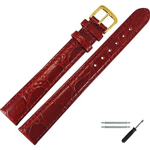 Marburger Uhrenarmband 14mm Leder Rot - Rindsleder, Kroko Prägung - Inkl. Zubehör - Ersatzarmband, Schließe Gold - 6611440000220 (Alligator-prägung Genuine Leather)