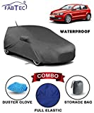 #6: Fabtec Waterproof Car Body Cover for Volkswagen Polo with Mirror Antenna Pocket Storage Bag & Microfiber Glove Combo