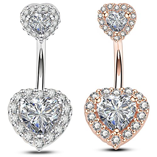 Double heart cubic zirconia belly bars surgical steel banana bar 14gauge 1.6mm navel belly button rings-oufer body piercing(white)