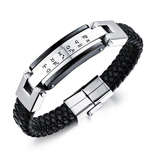 Ilove eu acciaio inossidabile vera pelle bracciale braccialetto bangle argento nero oroscopo zodiaco segno zodiacale da uomo