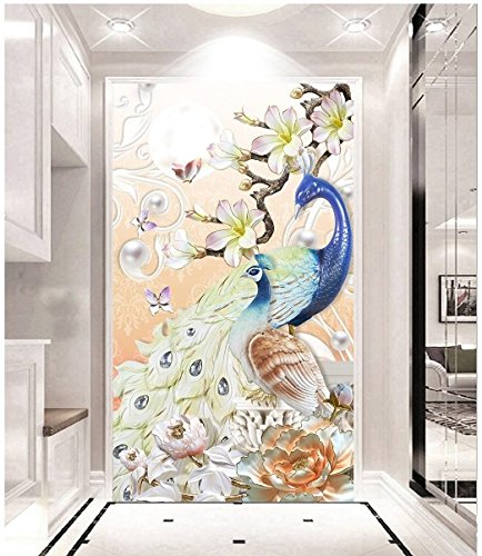 Preisvergleich Produktbild Y-Hui Embossed three-dimensional peacock 3D fresco modern European style seamless wallpaper vase background wall wallpaper aisle wall cloth, 336cmx236cm