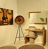 SAM Badezimmer-Set Lombok, Teak-Holz, mit Marmorwaschbecken, Waschbeckenunterschrank & Spiegel, ausdrucksstarke Maserung