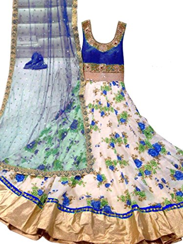 Trishulom Anarkali Suit - Semi Stitched Full Length Blue Bhagalpuri Silk Printed Suits For Women Beautiful Ethnic Suits For Festive Occasions Women Long Kurtis