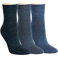 Vita Sox Hombre Calcetines Calcetines de fina Señor Calcetines Lana Negro Marino Gris Antracita Gris Jeans Uni einfarbig sin costuras sin goma, 6unidades Azul vaquero
