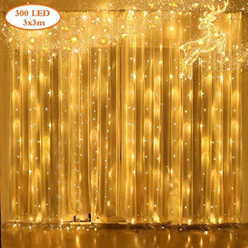 Yue gang led tenda luminosa 3x3m catena luminosa con 8 modalità, 300 led impermeabilità ip44 luci per tende per matrimonio, natale, festa, decorazioni murali per interni all'aperto(bianco caldo)