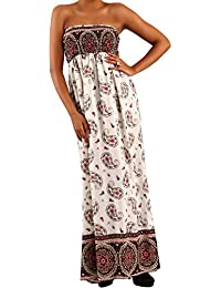 Damen Maxikleid Hippie Bandeau Long Dress Strandkleid