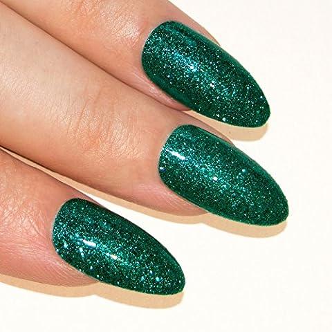 Art bling Stiletto faux ongles Gel Acrylique 24 vert Aqua Glitter Moyen Conseils UK
