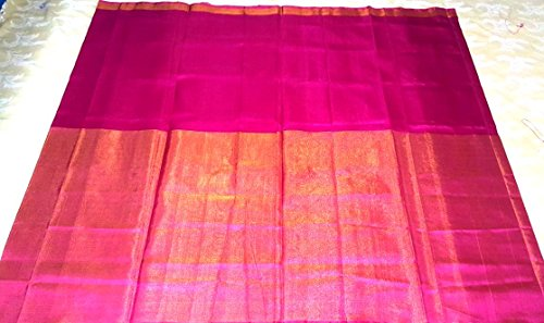 Pink Plain Uppada Half Tissue saree with blouse piece